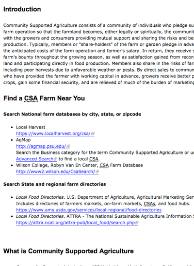 Preview Image: Community Supported Ag Info