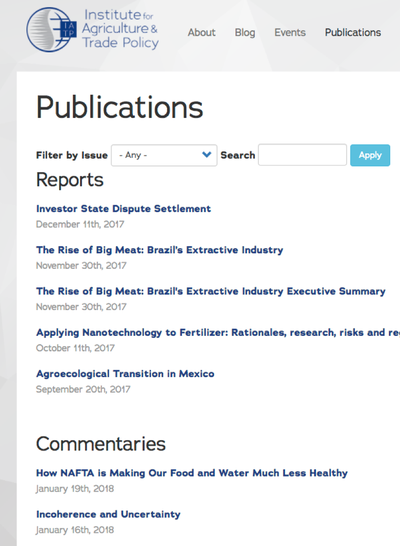 Preview Image: Institute for Agriculture and Trade Policy Publications