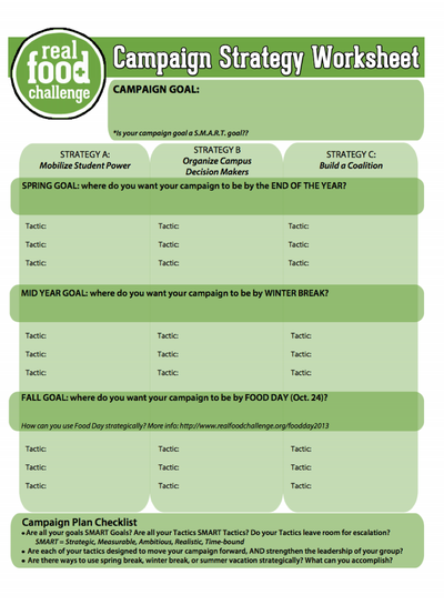 Preview Image: Campaign Strategy Worksheet