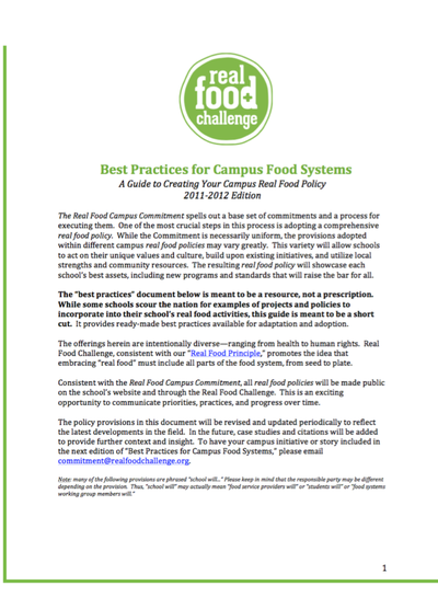 Preview Image: Best Practices for Campus Food Systems