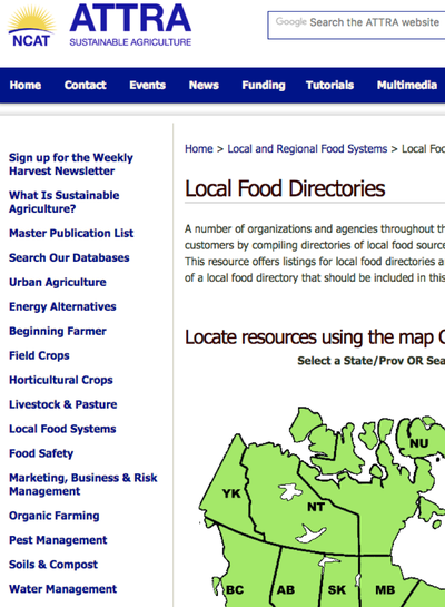 Preview Image: ATTRA Local Food Directory
