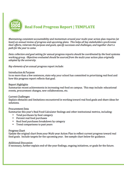 Preview Image: Real Food Progress Report Template