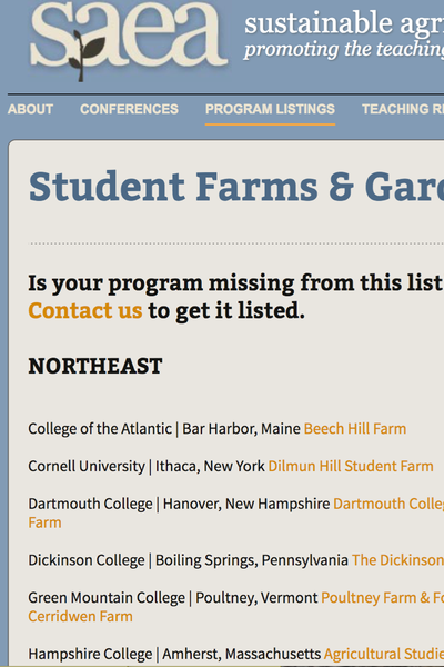 Preview Image: SAEA Student Farm Database